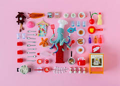 Playful: Cooking (hine) Tags: pez art cooking print poster toy miniature handmade craft australia felt plush octopus hinemizushima miniaturecollage playful2016