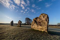 Blue skies over Avebury (Ken_Jones) Tags: morning blue england sky cold standing sunrise ancient frost unitedkingdom stones gb druid avebury
