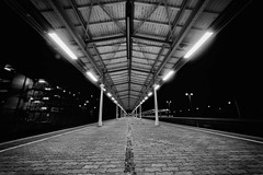 at the station (Zesk MF) Tags: street bw white black architecture train dark lights nikon sigma trier symmetrie zesk
