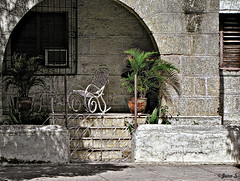 Aire de repos (Jean S..) Tags: trees window stone stairs concrete grey chair balcony stairway sidewalk