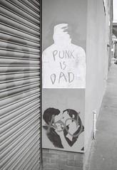 Punk is Dad (bigalid) Tags: bw newcastle graffiti kodak april kodakbw400cn 2016 bw400cn c41 ouseburn olympuspenee2