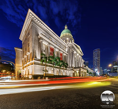 National Gallery Singapore (kenneth chin) Tags: city blue architecture yahoo google twilight nikon singapore asia historical lighttrails nikkor verticalpanorama digitalblending thewestin d810 1424f28g nationalgallerysingapore