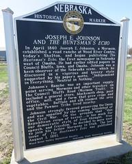 Joseph E. Johnson and The Huntsman's Echo Marker (Shelton, Nebraska) (courthouselover) Tags: nebraska ne shelton lincolnhighway buffalocounty mormontrail nebraskahistoricalmarkers