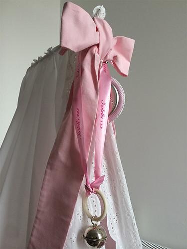 25mm roze lint met fuchsia bedrukt