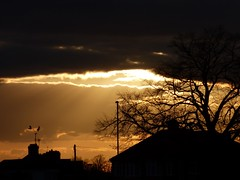 when day is done (nannyjean35) Tags: birds silhouettes posts chimneys arials