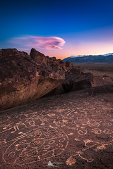 Whisper of the Past (www.fourcorners.photography) Tags: bishop california easternsierranevada owenvalley volcanictableland petroglyph basalt sunset cloud lenticularcloud outdoor landscape peterboehringer peterboehringerphotography reallyrightstuff leendgrad06 fourcornersphotography