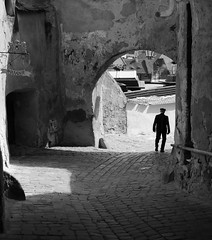 Sighisoara Path (PM Kelly) Tags: street travel shadow blackandwhite bw silhouette architecture blackwhite arch walk cobblestone romania sighisoara passage transylvania bnw