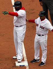 Papi wants X to know he's the man (ConfessionalPoet) Tags: baseball redsox davidortiz bigpapi firstbase baserunner openingday2016