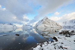 Kjerkfjorden Fjord and Olstinden Mountain (Lijuan Guo Photography ( Hollow Bamboo)) Tags: ocean mountain snow norway fjord lofoten reine nordland moskenes olstinden kjerkfjorden