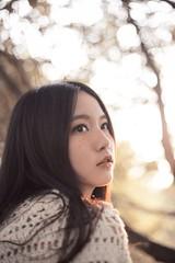 Look at the Sun (sakuraiaoi) Tags: blue autumn portrait sunshine yellow forest photography dawn woods