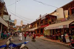 Pub street at dusk in Siem Reap, Cambodia (UweBKK ( 77 on )) Tags: road street people bar restaurant evening pub asia cambodia kambodscha dusk sony siem reap southeast alpha dslr angkor 77 slt