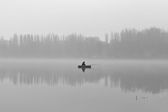 The early morning solitude (Unicorn.mod) Tags: blackandwhite bw water monochrome fog river landsape 2016 canonef24105mmf4lisusm canoneos6d