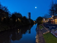 Just before dawn (jonnodavies) Tags: reflection water night twilight leicester olympus omd em5mk2