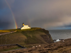 Stoer Head Lighthouse (Highlandscape) Tags: morning light sea sky cloud lighthouse white storm colour building rain weather hail stone wall shower scotland early highlands rainbow waves wind head places olympus structure highland markii stoer em5 stoerhead stoerheadlighthouse httphighlandscapezenfoliocom olympusem5markii morningwallrainseawhiteearlymorning