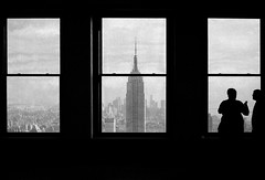 The Empire State Building (_B_G_D_) Tags: new york old city nyc windows sky people blackandwhite white black apple silhouette architecture clouds canon buildings big unitedstates floor angle state top shades empire rockefeller