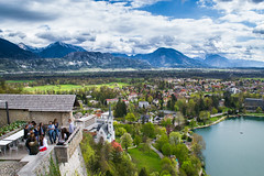 A hard climb for a perfect view (E-klasse2010) Tags: lake snow mountains alps castle students clouds town high view slovenia bled slovenija grad blejski