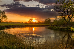 Springtime in the river valley 2 (piotrekfil) Tags: sunset sky sun tree nature water clouds wow reflections river landscape pentax poland piotrfil