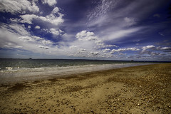 Day at the beach (Rhoboo) Tags: ocean blue sea sky beach water sunshine clouds landscape outdoors sand shore portsmouth southsea