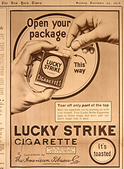 Lucky Strike Cigarette ad (Madison Historical Society) Tags: old usa history museum newspaper interesting nikon image connecticut interior military country wwi picture newengland ct indoor worldwari madison historical inside greatwar firstworldwar mhs conn 1stworldwar d600 bostonpostroad nikond600 leeacademy madisonhistoricalsociety connecticutscenes madisonhistory bobgundersen