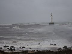 Huge waves breaking over South Breakwater & lighthouse at entrance to Aberdeen Harbour (iainh124a) Tags: uk sea lighthouse scotland waves sony cybershot gale seawall aberdeen northsea sonycybershot breakwater aberdeenharbour girdleness torrybattery iainh124a dx90 dschx90 dschs90v dx90v
