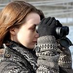 A student in the tweetspeak cluster using her binoculars