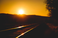 Railway into the sun (der LichtKlicker) Tags: winter sunset sun art reflections germany deutschland evening warm fuji sonnenuntergang open bokeh kunst wide railway fujifilm f2 baden sonne reflexion kaiserstuhl abendsonne breisgau schienen bokehlicious offenblende lichtklicker xf90mm