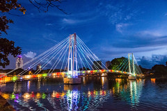 The Colorful Beira Lake Bridge, Colombo (Anoop Negi) Tags: city travel bridge blue lake beauty photography photo heart photos events photographers cable images sri lanka hour nightlife srilanka ceylon anoop colombo beira negi lankan the cmb ezee123 colobo
