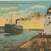 SHIP Frankfort Elberta MI RPPC c.1907 SS MISSOURI Steamer Excursion Ferry & Mail Boat OUTBOUND at OLD LIGHTHOUSE on right and HOTEL FRONTENAC to left was sister ship to SS ILLINOIS