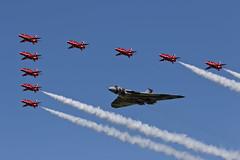 Avro Vulcan B2 and Red Arrows - 11 (NickJ 1972) Tags: hawk aviation airshow b2 vulcan bae redarrows raf t1 avro fairford riat royalinternationalairtattoo britishaerospace 2015 698 xh558 gvlcn spiritofgreatbritain