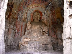 Longmen Grottoes - Luoyang (henantourism) Tags: china travel bridge sculpture mountain reflection tourism water architecture reflections temple scenery buddha arts culture buddhism caves henan carvings luoyang longmengrottoes henantourism