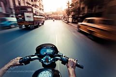 filming through the streets of calcutta. (Gabriel Guevara) Tags: india bus car speed sunrise traffic wind cab taxi fast motorcycle roads filming calcutta