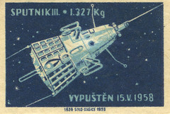 czeslovakian matchbox label (maraid) Tags: czech space label 1950s 1958 packaging czechrepublic sputnik matchbox czechoslovakian