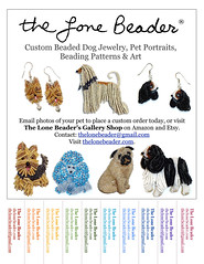 The Lone Beader's Advertising Flyer (The Lone Beader) Tags: dog pets dogs beads amazon handmade jewelry earrings etsy veterinarian beading promotions facebook beadwork petportrait dogwalker beadembroidery doggroomer petgifts