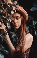 Asya (TLonskaya) Tags: summer portrait tree green nature girl beauty face hat leaves hair botanical natural cyan