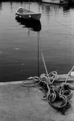 Beadnell (rachappleby) Tags: blackandwhite film 35mm coast boat fishing crab pots northumberland lobsterpots beadnell coastalphotography