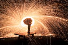 Steel Wool (troppobronzo) Tags: wool lights steel behind longtimeexpousre