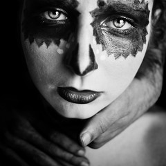 Equilibrium (Christine Lebrasseur) Tags: portrait people blackandwhite woman france art 6x6 canon hand makeup fr onblack strangulation gironde 500x500 léane saintloubes allrightsreservedchristinelebrasseur