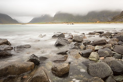 Like words from a friend (OR_U) Tags: longexposure sea motion mountains water rain weather norway landscape coast movement stones pebbles le fjord oru lofoten 2016