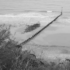 Groyne (mag_mouse) Tags: beach monochrome blackwhite waves groyne
