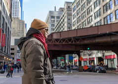 He took the red pill (Adam D Dooley) Tags: city red urban chicago matrix scarf us illinois iron downtown cityscape unitedstates streetphotography scene il theloop thematrix moviescene thel redpill laurencefishburne