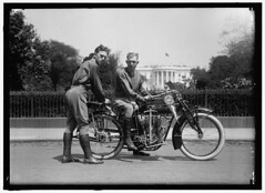 """1915. """"Baker and O'Brien transcontinental motorcyclists back of White House."""" Bud Baker and Dick O'Brien embarked on a five-month 10000-mile jaunt to the West Coast via Indian motorcycle. Harris & Ewing Collection. [1024 x 725][OS] #HistoryPorn #history # (Histolines) Tags: west history coast baker 10 indian dick x retro via collection obrien motorcycle timeline bud harris 1915 ewing 1024 jaunt fivemonth vinatage embarked historyporn 000mile histolines bakerandobrientranscontinentalmotorcyclistsbackofwhitehouse 725os httpifttt1shysok"""