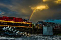 Ashdown KCS Rainbow (Scott Dunson) Tags: railroad clouds train rainbow cloudy railway tokina pro arkansas ashdown kcs kansascitysouthern tokina2035