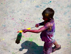he got a new gun! (dishachatterjee) Tags: friends india fun colours festivals holi enjoyment festivalofcolours childhoodfun