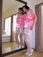 Legs (Paula Satijn) Tags: pink hot sexy stockings girl smile happy mirror twins shiny teddy legs lace joy silk double tgirl sissy satin gurl silky stockingtops playsuit