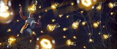 Ideas (Katelin Kinney) Tags: autumn light woman art colors yellow lightbulb night forest photoshop fly woods warm pretty glow bright flash surreal float levitate
