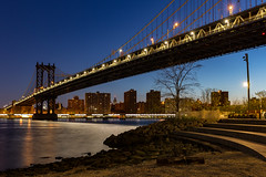Manhattan Bridge (Bob90901) Tags: city longexposure bridge sky building water skyline architecture brooklyn night canon spring waterfront outdoor manhattan manhattanbridge eastriver april bluehour 6d 2016 brooklynbridgepark empirefultonferrystatepark canonef2470mmf28liiusm rpg90901