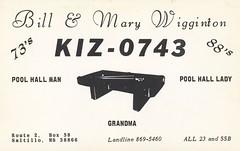 Pool Hall Man & Pool Hall Lady - Saltillo, Mississippi (73sand88s by Cardboard America) Tags: vintage mississippi billiards qsl cb cbradio qslcard