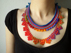 crochet necklace with beaded lace in cornflower blue, indigo, turquoise, crimson red, orange, lime, olive green colors by irregularexpressions (irregular expressions) Tags: orange necklace embroidery limegreen jewelry cobaltblue beaded brightred sapphireblue olivegreen beadednecklace indigoblue cornflowerblue turquoiseblue crochetnecklace crochetjewelry tealblue beadedcrochet textilejewelry cardinalred fiberjewelry lacenecklace beadedlace irregularexpressions statementnecklace fibernecklace beadworknecklace textilenecklace beadedcrochetnecklace irregexp beadedcrochetlace