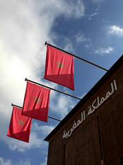 Three flags (VoyagerX) Tags: expo milano flag morocco marocco