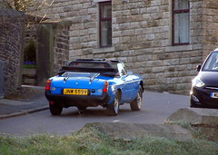 MGB  Roadster (Lawrence Peregrine-Trousers) Tags: blue car rubber mg spots bumper mgb roadster ffffffffff autoshite